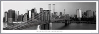 Manhattan - morning b&w bekeretezett plakát