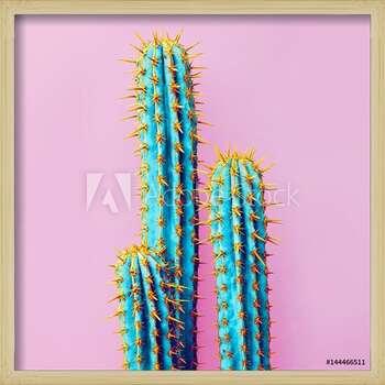 Set Neon Cactus. Minimal creative stillife bekeretezett plakát