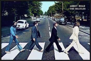 Bekeretezett plakát Beatles - abbey road