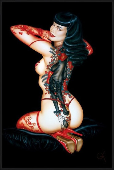 Bettie Page - tattoo Plakát