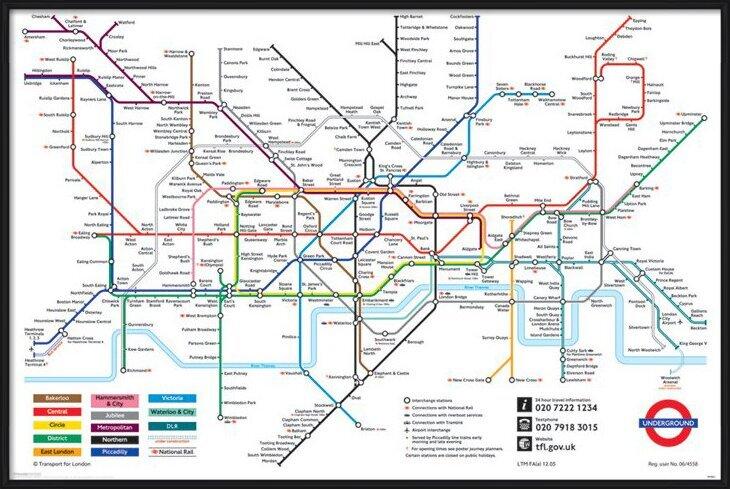 Londoni Metrótérkép Plakát